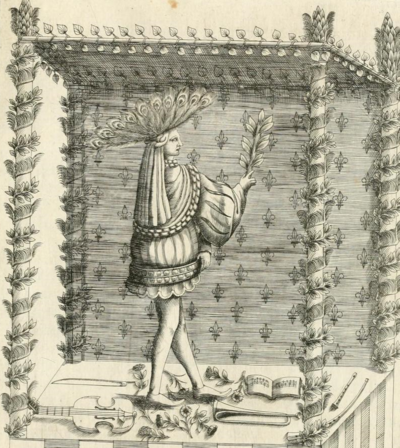 Engraving of a troubadour, 1624.